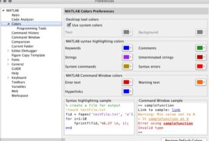 Checking the colors preferences